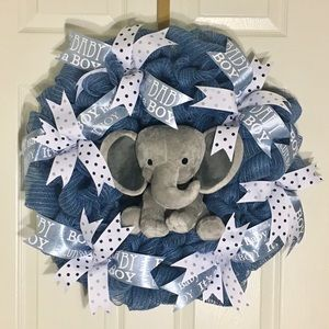 BABY BOY- pregnancy/birth celebration wreath